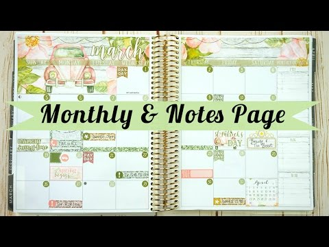 March Monthly & Notes page / Plan With Me (ECLP)