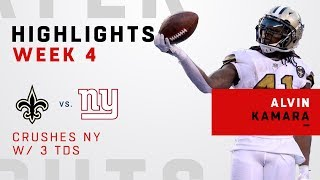 Alvin Kamara Crushes New York w/ 3 TDs in Week 4