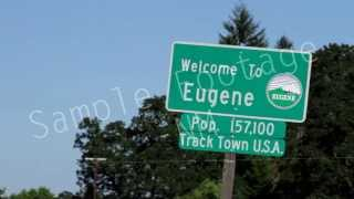 Welcome To Eugene - Street Sign - Sign 2 - Eugene Oregon - Best Shot Footage - HD Stock Footage