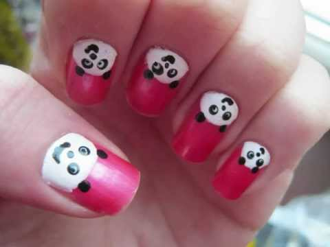 Easy Cute Panda Nail Art Tutorial By Bitethecake Cute Animal Nails