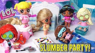 LOL Disney Princess Slumber Party with Baby Goldie - Punk Boi NOT Invited!