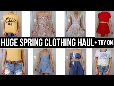 HUGE Spring Clothing Haul + Try On | F21 AE Lulus Peppermayo Asos