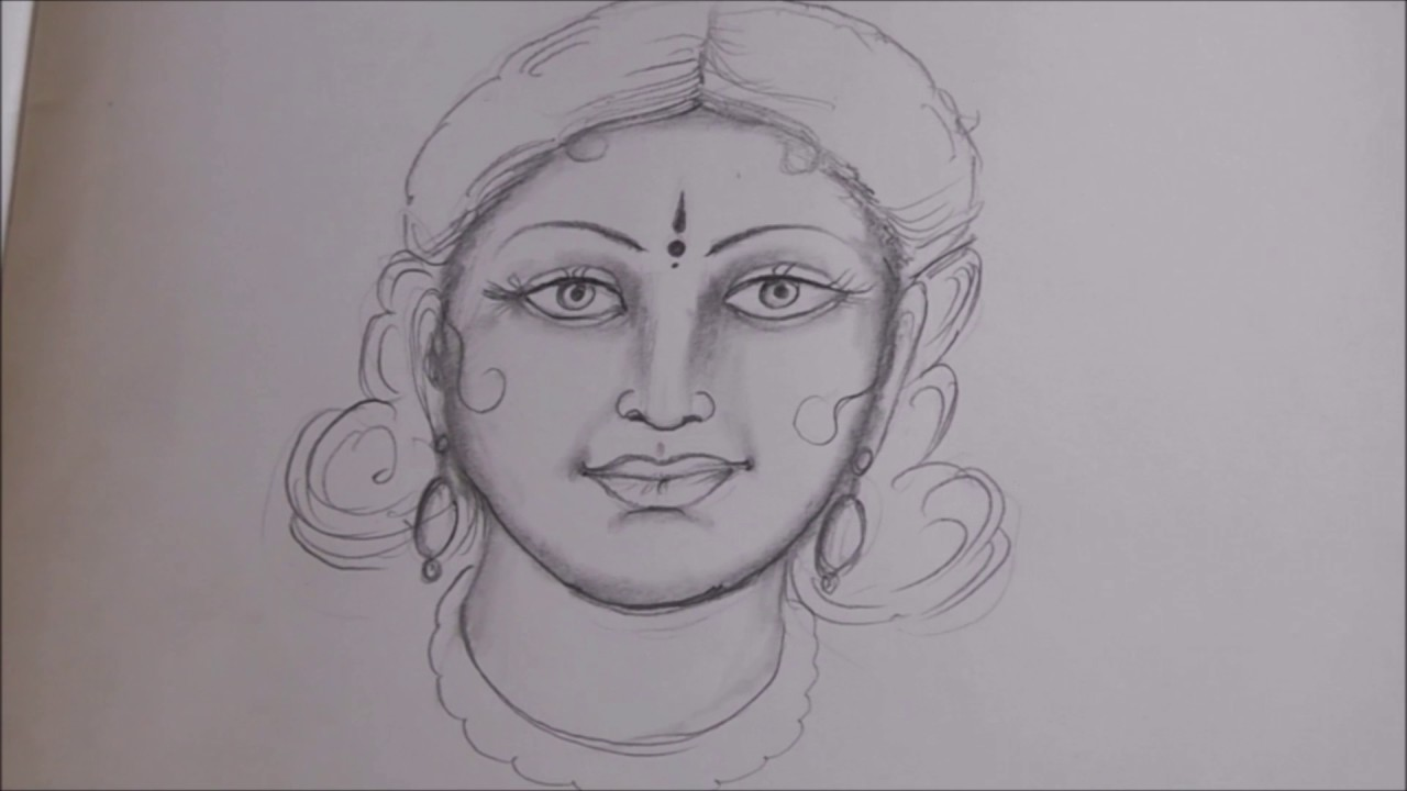 Free hand sketch of beautiful traditional indian women face ssc arts 190