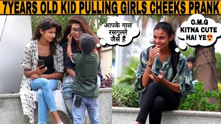 7 Years Old Kid Pulling Cheeks Prank On Cute Girls | prank in india | Moin khan | Jaipur tv