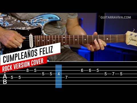 Happy Birthday Rock Lesson on Electric guitar - Easy lesson with tabs and play along