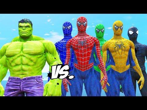 SPIDER-MAN, GREEN SPIDERMAN, BLUE SPIDERMAN, YELLOW SPIDERMAN, BLACK SPIDERMAN VS THE HULK