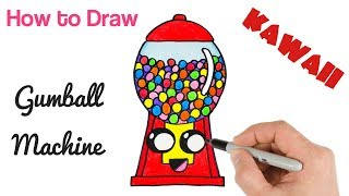 How to Draw Gumball Machine Cute Drawing for Kids