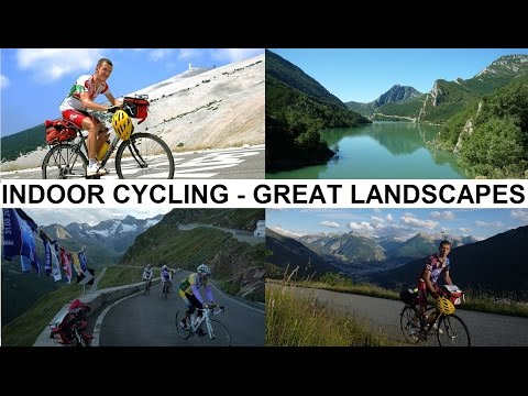 Indoor cycling workout: Alps, Pyrénées, Costa del Sol, Andalucia Full HD