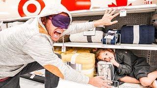 Blindfold Hide & Seek in TARGET! Wyatt is a SNEAKY hider?!
