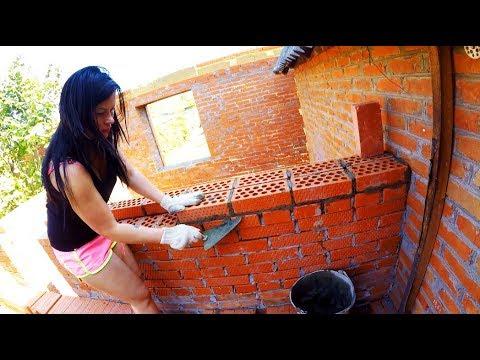#Строительство дома. Кладем кирпич вместе с женой. Мастер класс от Анюты!