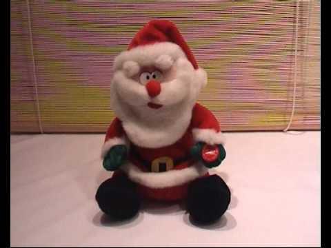 singender weihnachtsmann auf wei em tuch singing santa. Black Bedroom Furniture Sets. Home Design Ideas