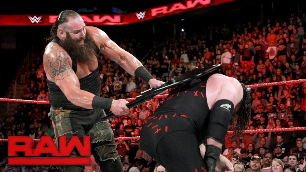 steel chair in wrestling plus size office chairs uk braun strowman crushes kane s throat brutal attack raw nov 27 2017