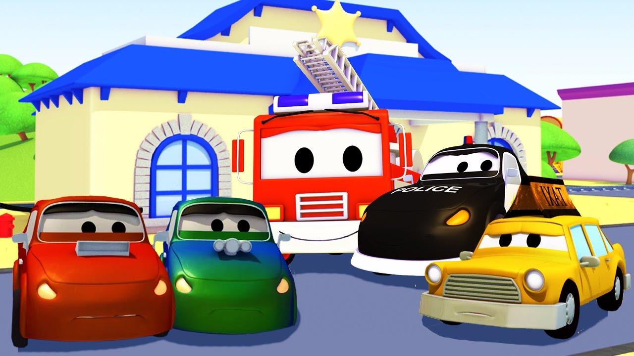 Đội xe tuần tra : xe cứu hỏa cùng với xe cảnh sát và những kẻ phá hoại ở thành phố xe | Phim hoạt
