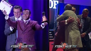 JUAN MANUEL MARQUEZ EMBRACED BY FLOYD MAYWEATHER JR AFTER HALL OF FAME SPEECH