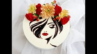 рисунок шоколадом на торте