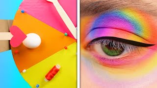 RAINBOW MAKEUP CHALLENGE || 18 Cool Makeup Tricks And Beauty Hacks