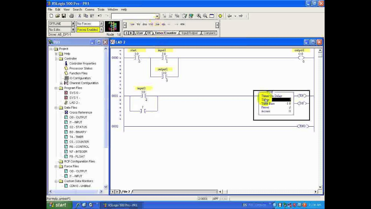 Rslogix 500 To Edit Upload And Executing A Ladder Logic