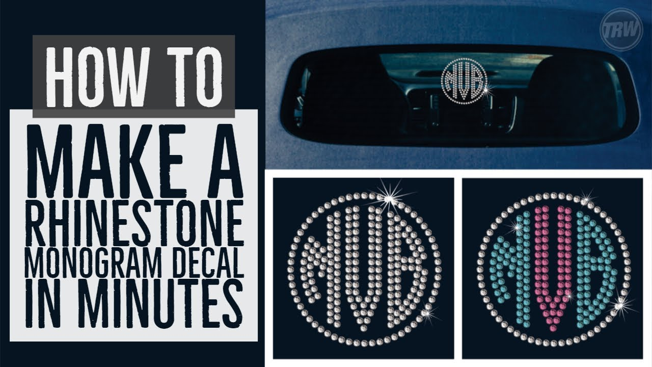 Rhinestone monogram car window decal tutorial