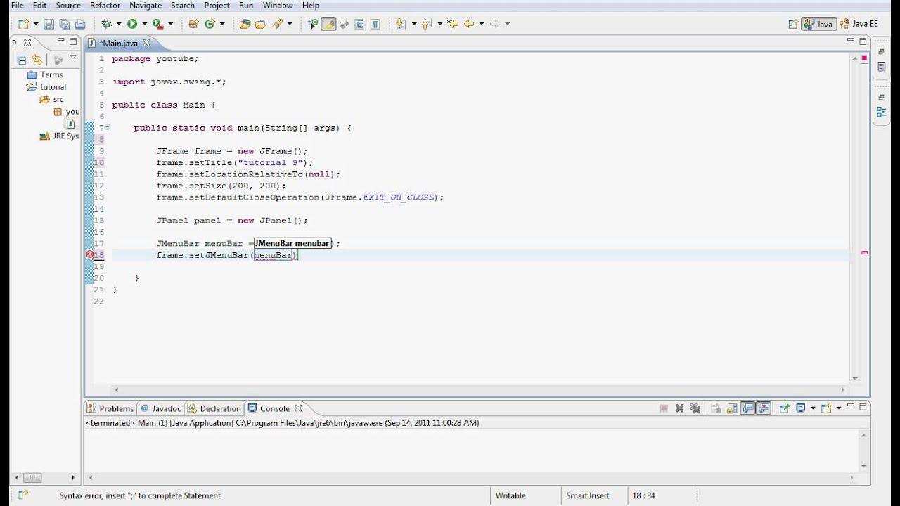 Java gui programming tutorial 9 menu bars hd youtube java gui programming tutorial 9 menu bars hd baditri Choice Image