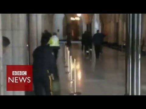 Canada Shooting: Video shows bullets fired inside parliament building - BBC News