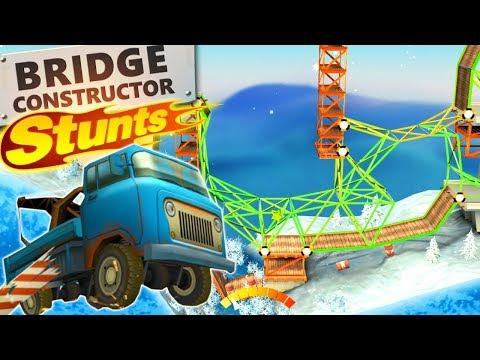 Building a CRAZY BRIDGE in Bridge Constructor Stunts! (Bridge Constructor Stunts Gameplay) |