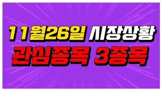 [주식] 11월 26일 시장상황 체크!! 관심종목 3종…