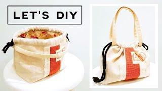 DIY Drawstring bag   Perfect For Beginners   初学者学习  束口袋制作 Step By Step DIY TUTORIAL#HandyMum ❤❤