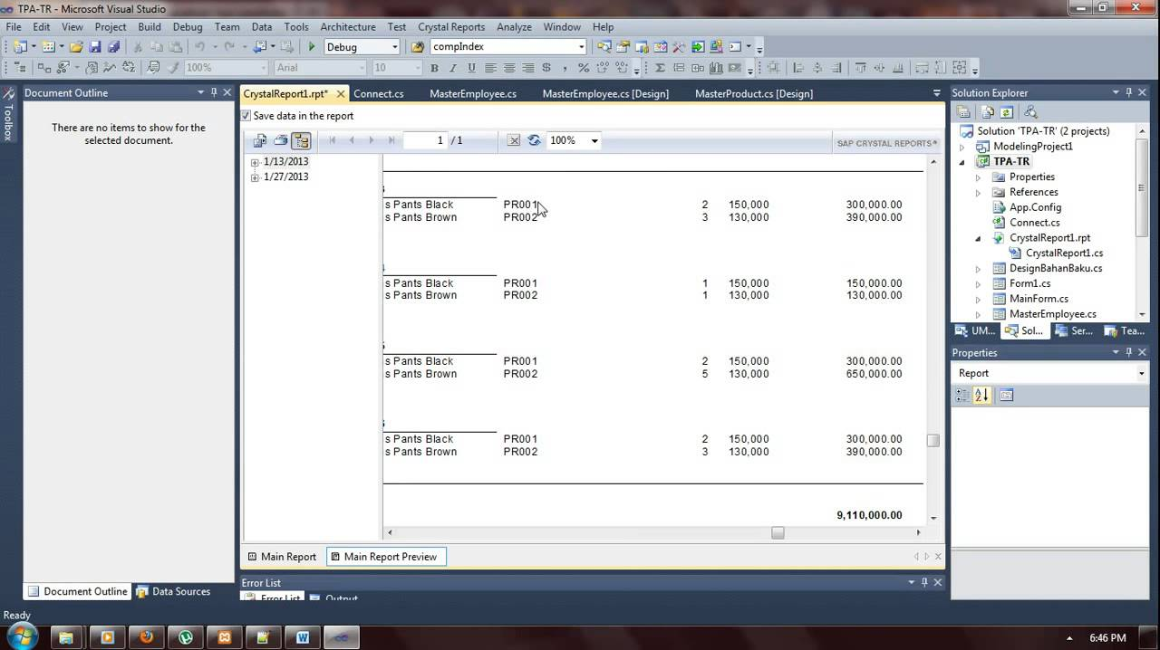 Crystal reports tutorial. Create a report, sort and group data.