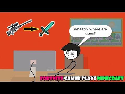When a Fortnite Gamer plays Minecraft