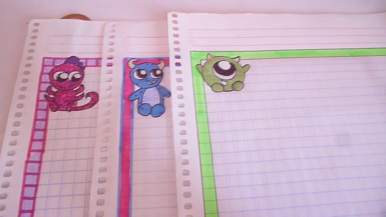 M rgenes kawai para tus cuadernos monster inc faciles y - Como hacer marcos de fotos faciles ...