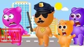 Mega Gummy bear baby playing with wet balloon police finger family nursery rhymes funny cartoo #GRA