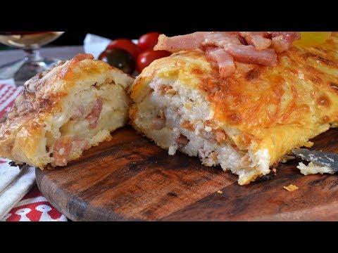 Tronco salado de Navidad de beicon y queso con pan de molde Receta fácil y deliciosa