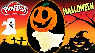 Huevo Sorpresa Gigante Calabaza disfrazada de Fantasma de Plastilina Play doh  Español Egg Pumpkin