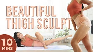 10 Minute Beautiful Thigh Sculpt Pilates Workout | 7 Day Thigh Challenge (Days 4-7)