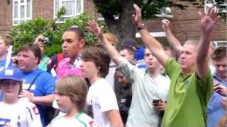 2011 QPR supporters on South Africa Road celebrate the news that they are Champions