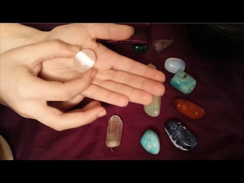 Cleaning & Charging My Crystal Collection | ASMR Show & Tell | Tapping, Water Sounds, Brushing