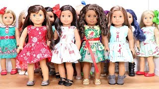 Dressing all my American Girl dolls for Christmas!