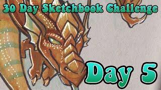 """3 Marker Challenge Dragon!"" - 30 Day Sketchbook Challenge : Day 5"