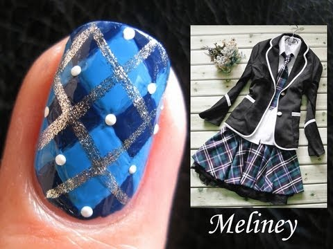 Back To School Nails Argyle Sprinkle Plaid Nail Art Design For Short Nails Blue Diy Freehand
