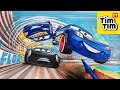 How to draw Lightning McQueen flipping over Jackson Storm CARS 4   Drawing coloring pages for kids