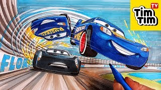 How to draw Lightning McQueen flipping over Jackson Storm CARS 4 | Drawing coloring pages for kids