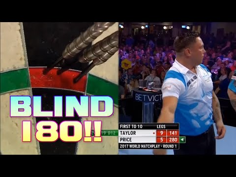 Gerwyn Price Blind 180 Against Phil Taylor -  Scores 55 With One Dart?
