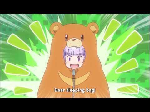 Anime: New Game - bear sleeping bag scene