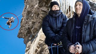 Extremely cold & steep Norwegian Rock Climbing!