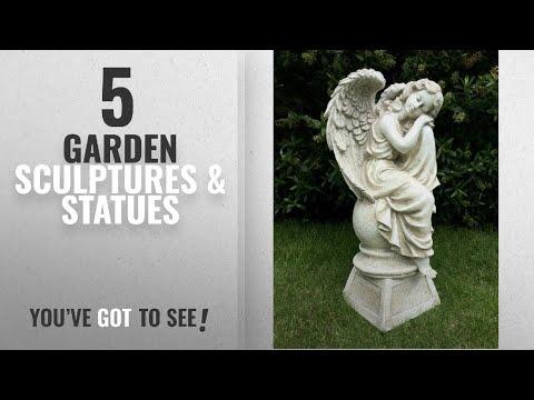 Top 10 Garden Sculptures & Statues [2018]: LARGE SITTING ANGEL GARDEN ORNAMENT SCULPTURE STATUE