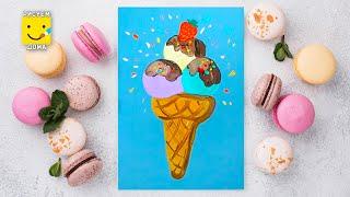 Как нарисовать мороженое - урок рисования для детей от 3 лет, гуашь,  рисуем дома поэтапно