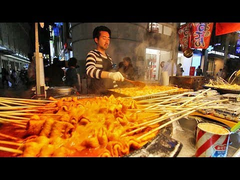 KOREAN STREET FOOD - Myeongdong Street Food Tour in Seoul South Korea | CRAZY Korean Food + SEAFOOD