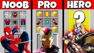 Minecraft Battle: NOOB vs PRO vs HEROBRINE: SUPERHERO CRAFTING CHALLENGE / Animation