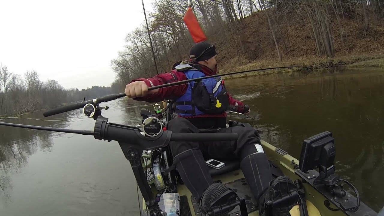 Kayak fishing for steelhead on the muskegon river youtube for River fishing kayak