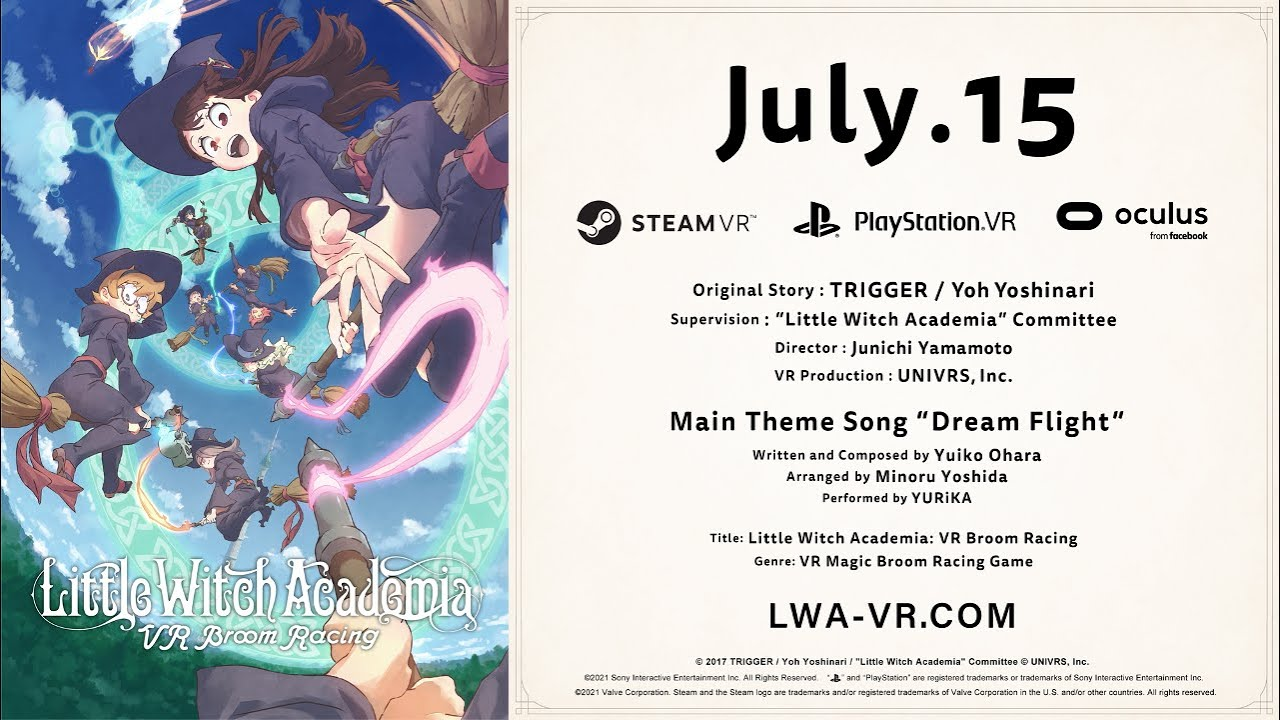 """""""Little Witch Academia: VR Broom Racing"""" New Trailer [July 15, 2021 on PSVR/SteamVR/Oculus Rift]"""
